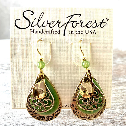 """Silver Forest"" Green & Gold Earrings"