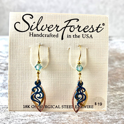"""Silver Forest"" Teal Earrings"