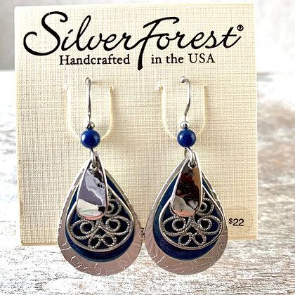 """Silver Forest""  Navy & Silver Earrings"
