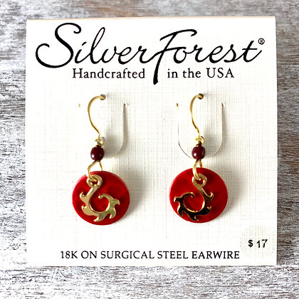 """Silver Forest"" Red & Gold Earrings"