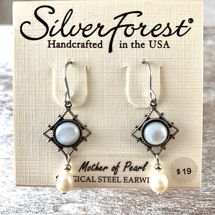 """""""Silver Forest"""" Mother of Pearl Earrings"""