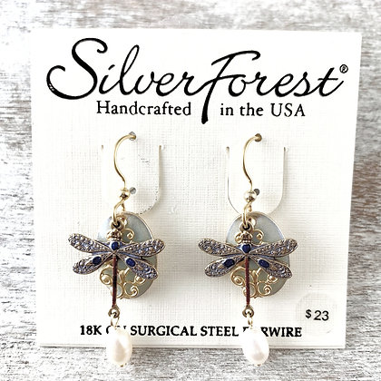 """Silver Forest"" Dragonfly Earrings"