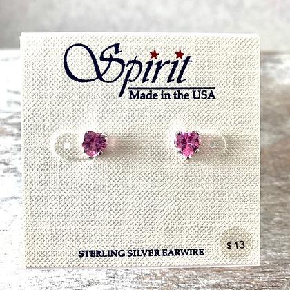 """Spirit"" Pink Crystal Heart Earrings"
