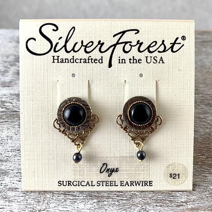 """Silver Forest"" Onyx Post Earrings"