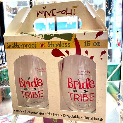 """Bride Tribe"" Shatterproof Wine Glass Pair"