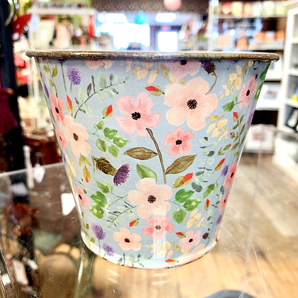 Sweet Floral Tin Bucket