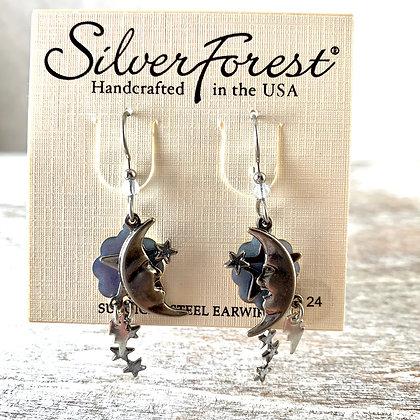 """""""Silver Forest"""" Light Blue Cloud Earrings"""