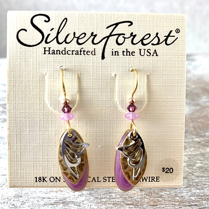 """Silver Forest"" Pink, Gold & Silver Earrings"