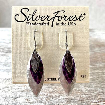 """""""Silver Forest"""" Purple & Silver Earrings"""