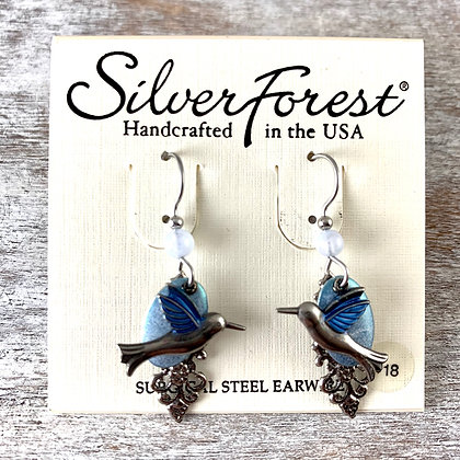 """Silver Forest"" Hummingbird Earrings"