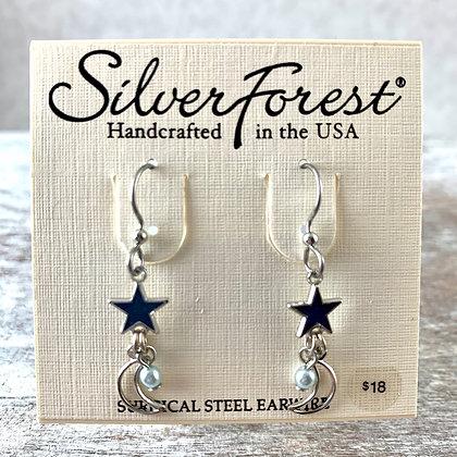 """Silver Forest"" Navy Star Earrings"