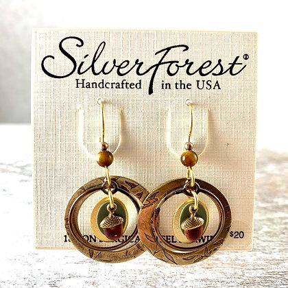 """""""Silver Forest"""" Acorn Earrings"""