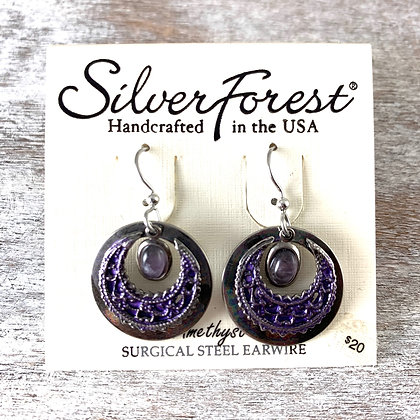 """Silver Forest"" Amethyst Earrings"