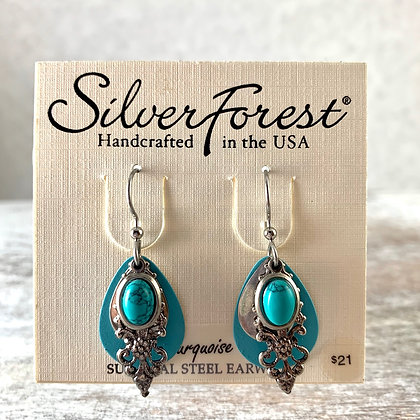"""Silver Forest"" Turquoise Earrings"