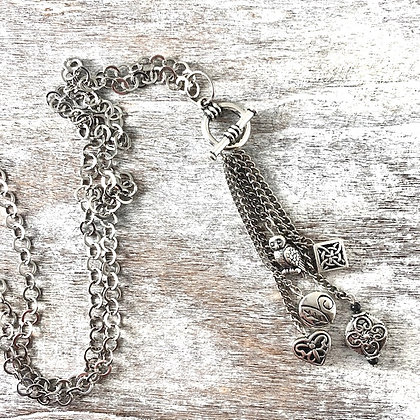 Toggle Charm Necklace /Silver