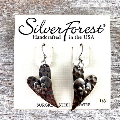 """Silver Forest"" Hammered Silver Earrings"