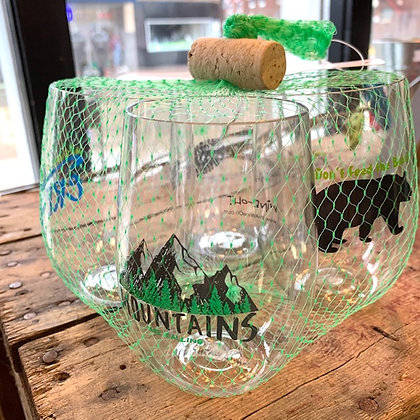 "4-pack ""The Mountains Are Calling"" Shatterproof Wine glasses"
