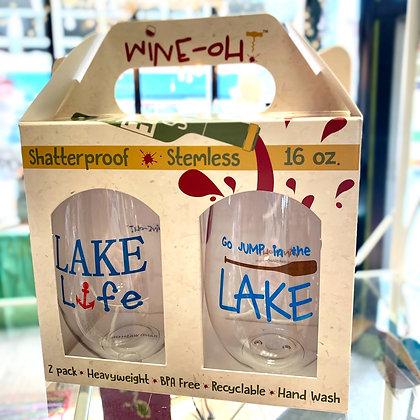 """Lake Life"" Shatterproof Wine Glass Pair"