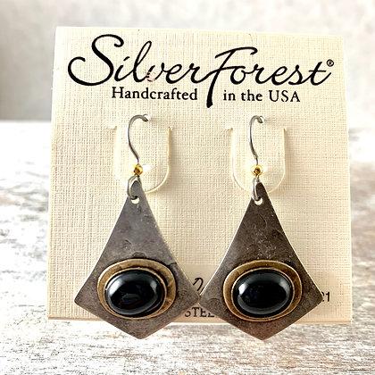 """""""Silver Forest"""" Onyx Earrings"""