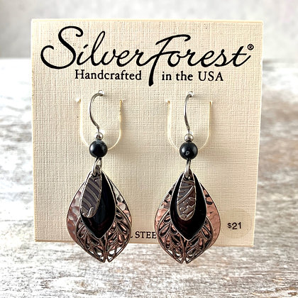 """Silver Forest"" Black & Silver Earrings"