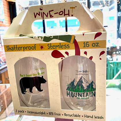 """Mountains Calling"" Shatterproof Wine Glass Pair"