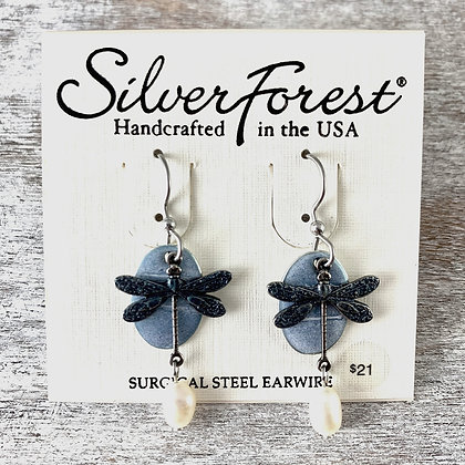 """""""Silver Forest"""" Dragonfly Earrings"""