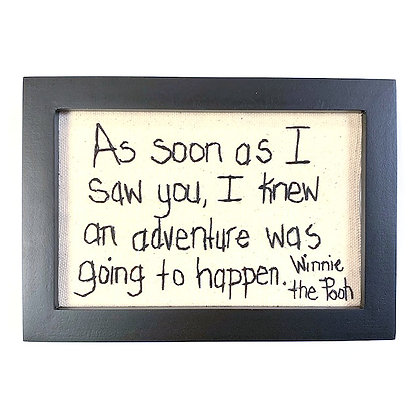"""As soon as I saw you..."" Hand-stitched Picture"