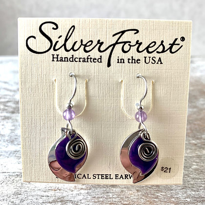 """Silver Forest"" Purple & Silver Earrings"