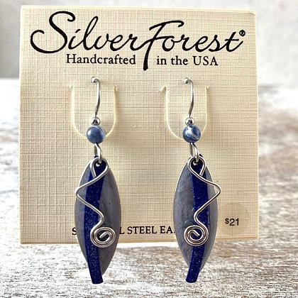 """""""Silver Forest"""" Navy Earrings"""