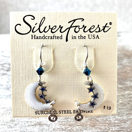 """""""Silver Forest"""" Moon & Star Earrings"""