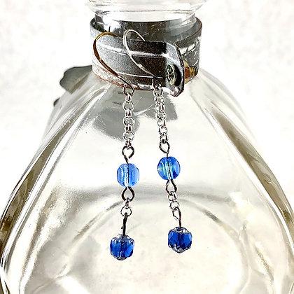 Silver & Blue Czech Glass Beaded Earrings