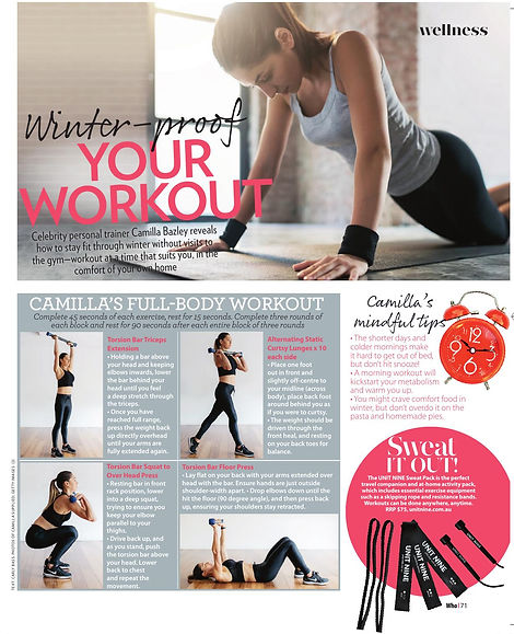 Camilla Bazley workout tips