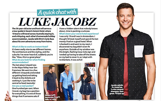 Intreview with tv host Luke Jacobz about show Instant Hotel