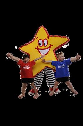 Twinke and two young boy gymnasts