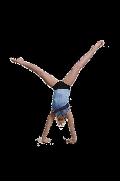 Girl gymnas doing a cartwheel