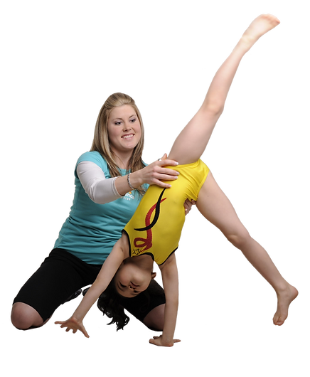 Coach spotting a cartwheel with young gymnast