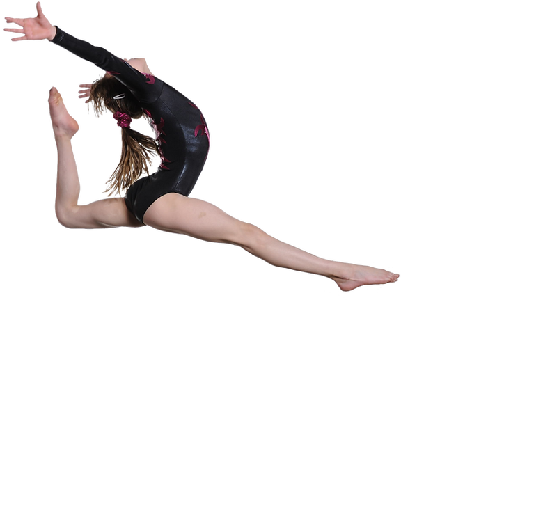 Female Gymnast doing a leap