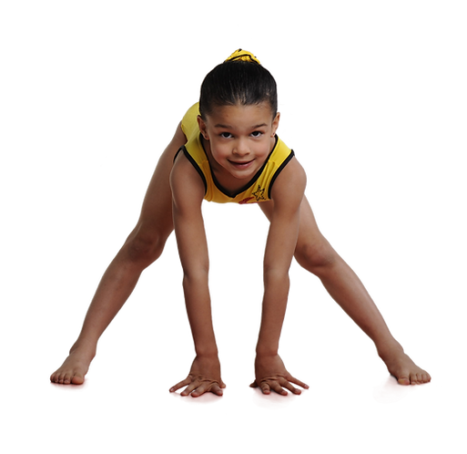 young girl gymnast dong a straddle
