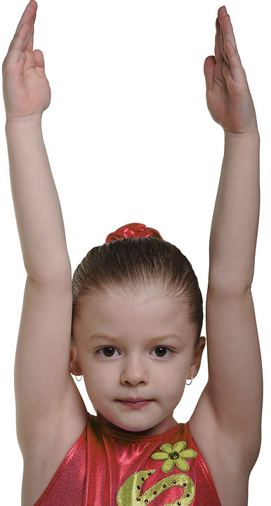 Young gymnast in red suit.