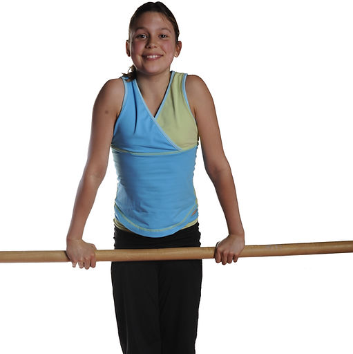 Girl gymnast on the bars in front support