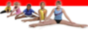 Row of gymnasts sitting in a straddle
