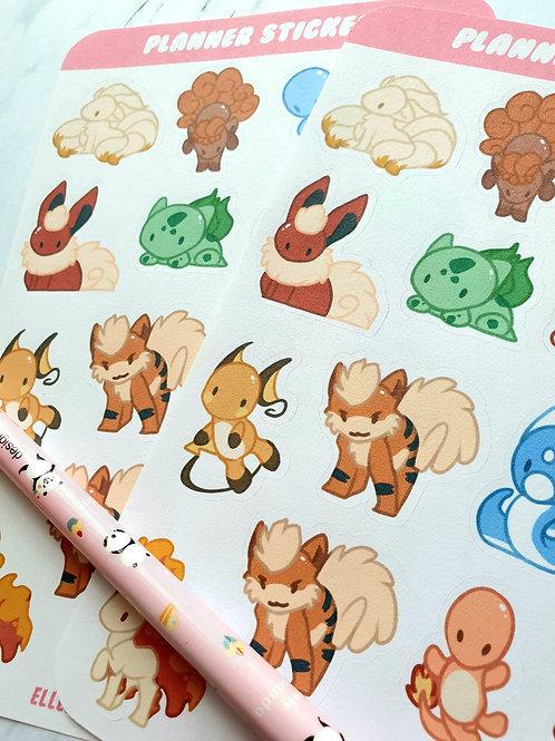 Pokemon Chibi Sticker Sheet