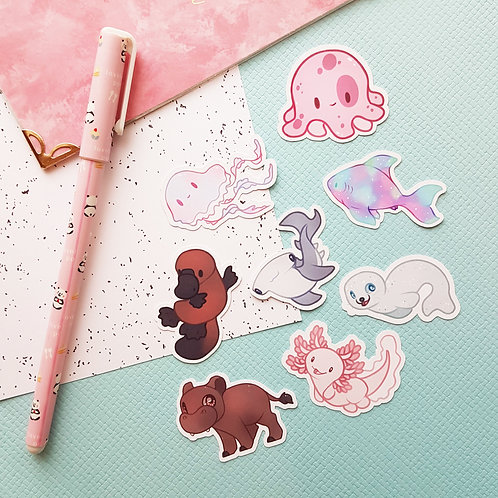 Sea Creatures 2 Small Sticker Set