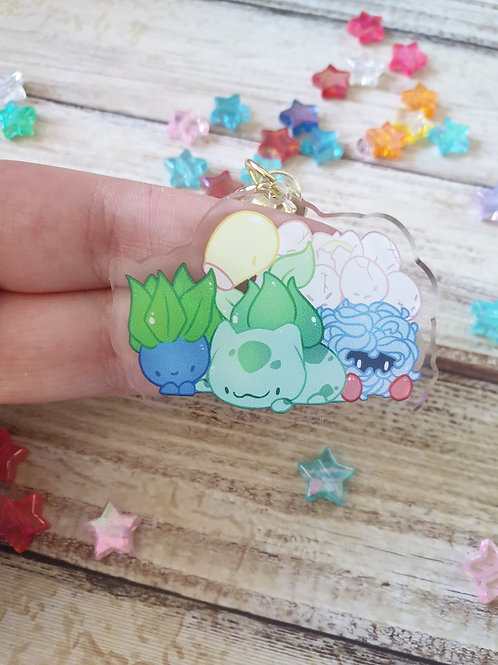 "Grass Pokemon 1 / 2"" Acrylic Charm"