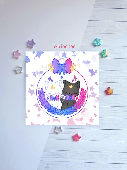 Bauble Cats Square Print