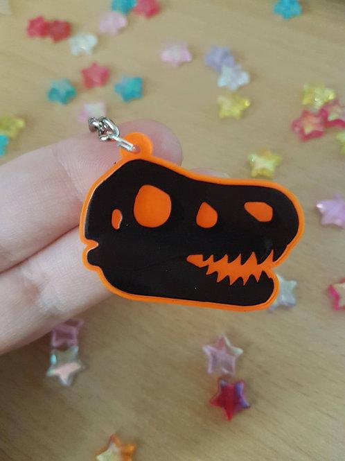 "Dinosaur / TRex Head Skeleton 2"" Orange UV Acrylic Charm"