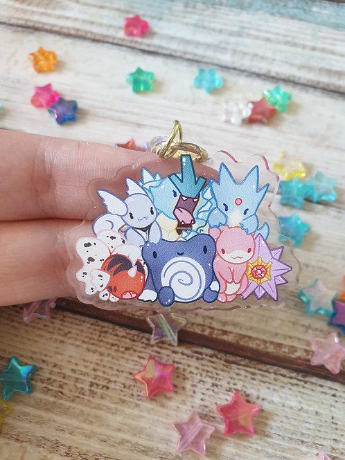 """Water Pokemon 3 / 2"""" Acrylic Charm"""
