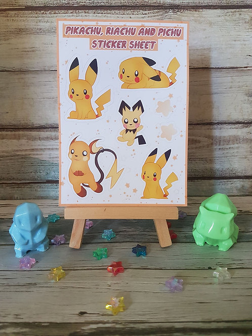 Pokemon Pikachu Riachu Pichu Sticker Sheet