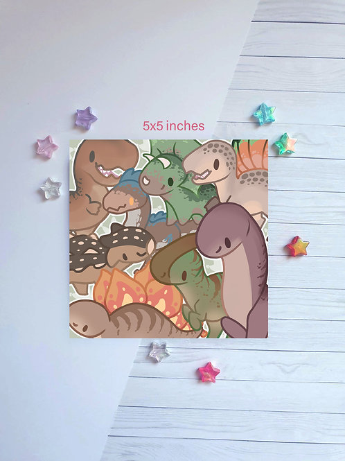 Dinosaur Square Print