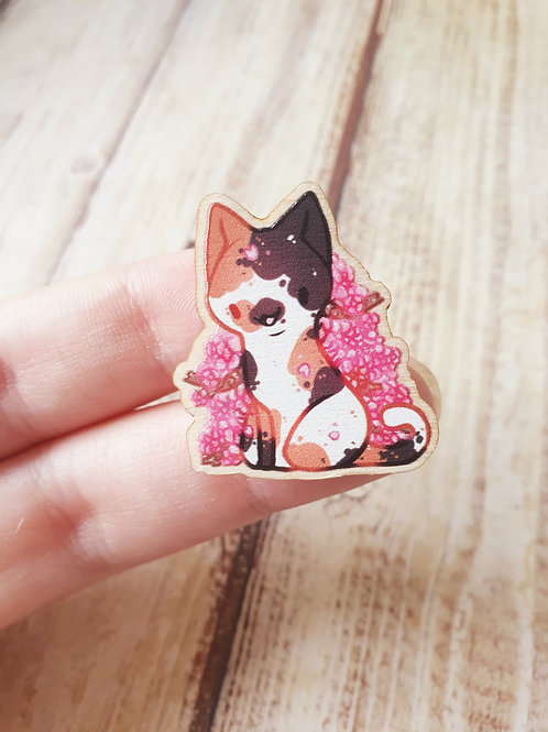 Cat Wooden Pin 2